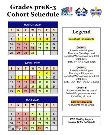 preK-3 Cohort Schedule