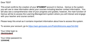 Student Account Creation Email
