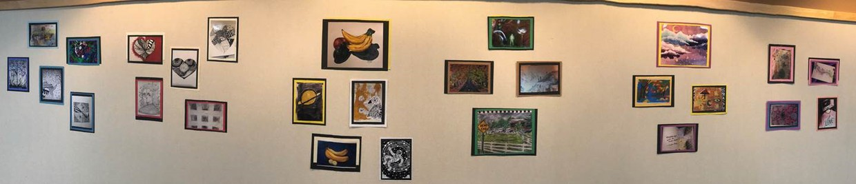 photo of wall with students art