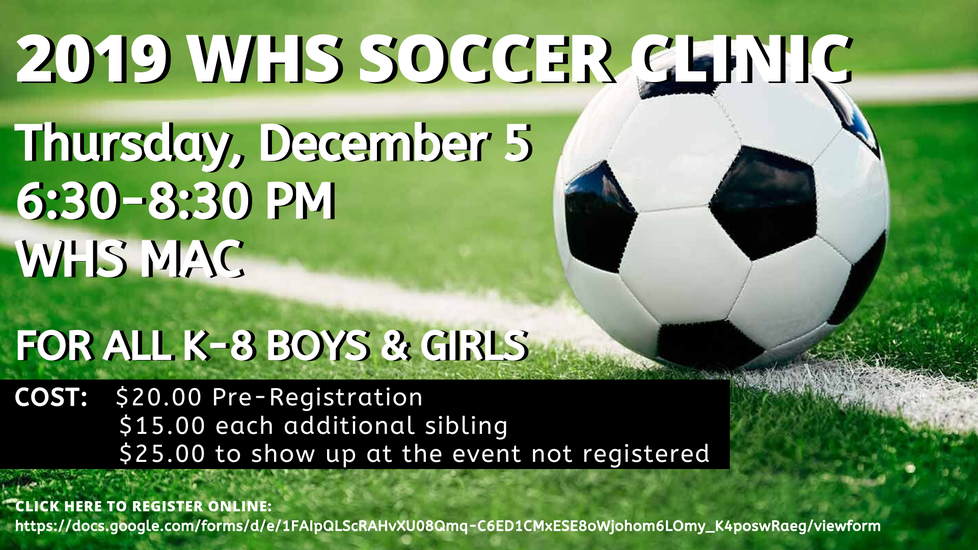 Link to WHS Soccer Clinic Online Registration Form