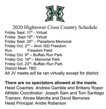 2020 Cross Country Schedule
