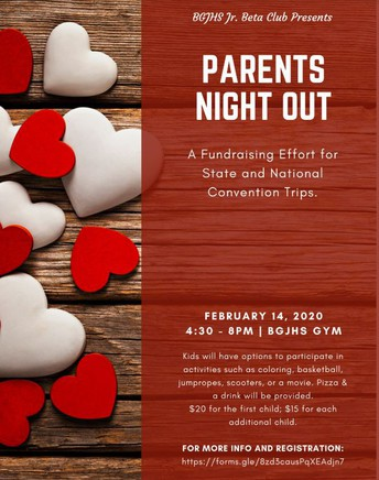 Valentine's Day Parent's Night Out Beta Club Fundraiser