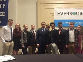 CRHS students at a Chamber Breakfast with Governor Malloy