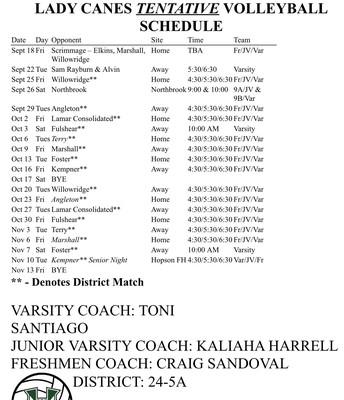 2020 Hurricane Volleyball Schedule