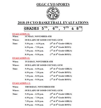 OLGC CYO Evaluations - LAST CALL!