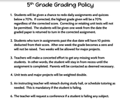 Grading Policy in 5th Grade