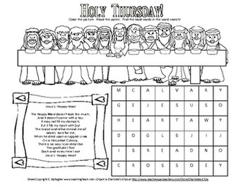 Holy Week Handouts for your Elementary Student