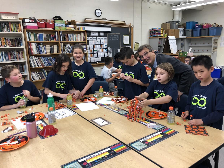 A shameless principal photo bombs a 4th grade classroom activity