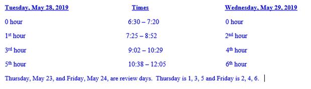 Freshman, Sophomore, and Junior Final Schedule