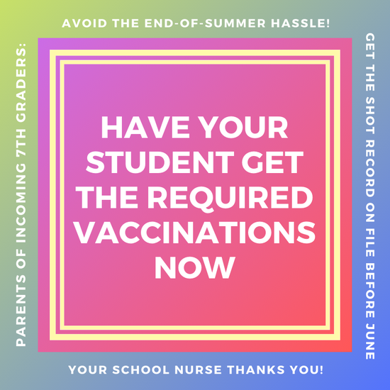 Incoming 7th Grade Vaccinations
