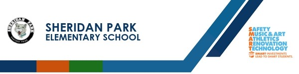 A graphic banner that shows Sheridan Park Elementary School's name and SMART logo