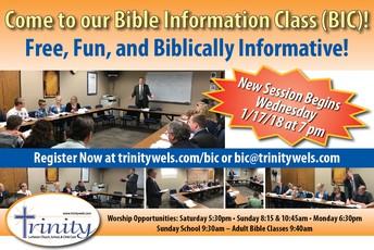 BIBLE INFORMATION CLASS LAUNCHING 1/17...