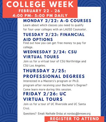 College Week Workshops!