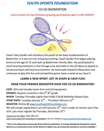 YSF Co-Ed Badminton!