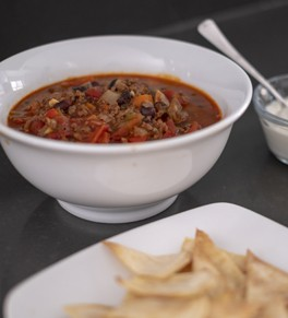 Hearty beef and black bean chili