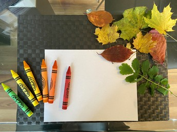 Once you have your leaves, you'll need to get crayons and paper.