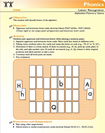 FCRR Alphabet Memory Game PDF Link