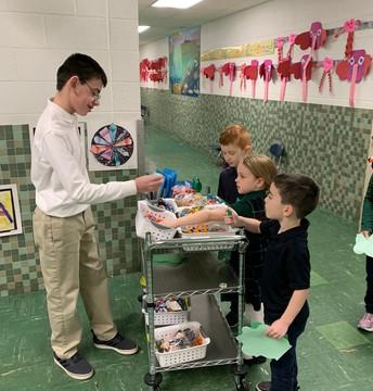 Kindergarten students deciding what to get