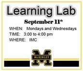 LEARNING LAB STARTS SEPTEMBER 11