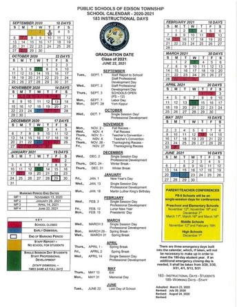 Updated Edison Township Schools Calendar 2020-21