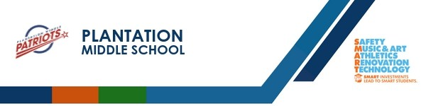 A graphic banner that shows Plantation Middle School's name and SMART logo