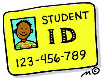 Clipart of student ID card with the student's face and ID number.