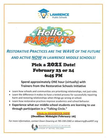 Restorative Practices Seminar for Middle School Parents
