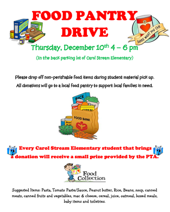 Food Pantry Donation TONIGHT at the Material Pick Up- CSS PTA
