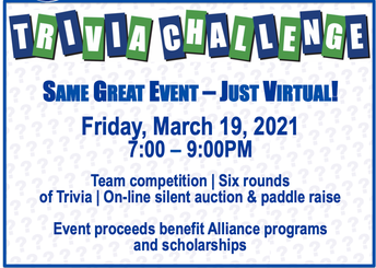 Logo for Trivia Challenge 2021 to support the Greenwich Alliance for Education with event details: Friday, March 19, 2021, 7:00 - 9:00PM, event will be held virtually