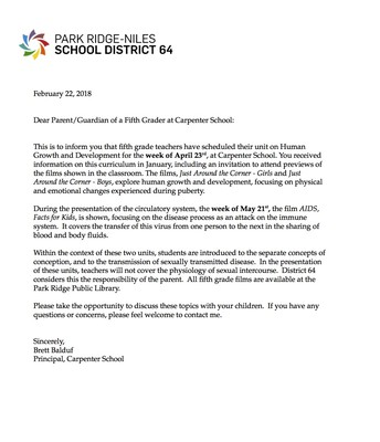 5th Grade Human Growth Letter
