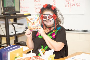 Mrs. Savell Dressed as a Character from Disney's Coco