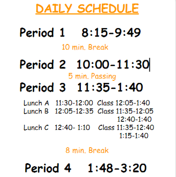 1.  MODIFIED A DAY/B DAY BLOCK SCHEDULING