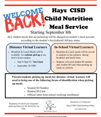 Hays CISD Meal Service Info