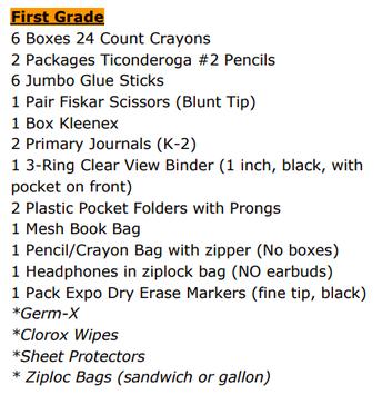 1st Grade School Supply List