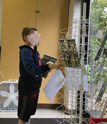 Sorting Magazine Covers on a Rack