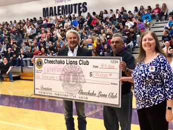 Cheechako Lion's Club donates $10,000 to Lathrop High School.