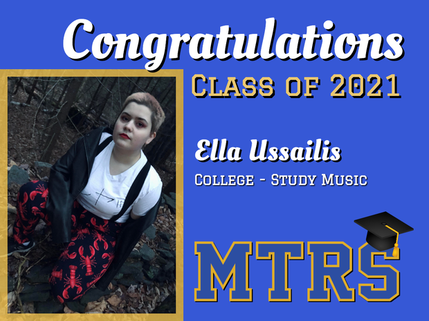 Congratulations Class of 2021 Ella Ussailis College to study music (MTRS logo with graduation cap) photo of Ella crouching, looking at camera