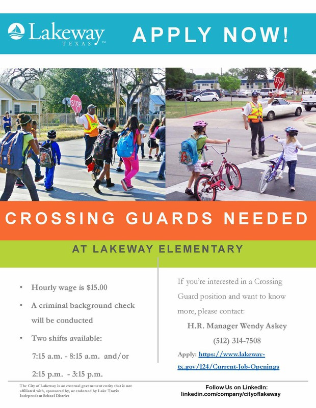 City of Lakeway Crossing Guards Needed ad