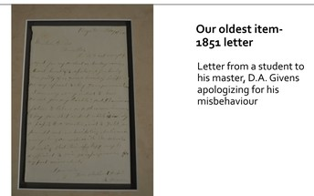 The oldest artifact from 1851 - a letter of student apology