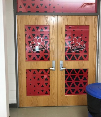 A splash of school colors on our library doors.