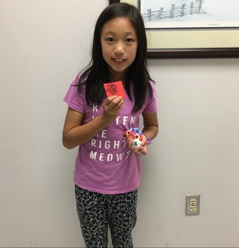 Sunny earned a Red Raider prize!