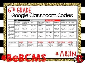 6th grade google classroom codes
