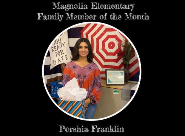 MES Family Member of the Month Porshia Franklin