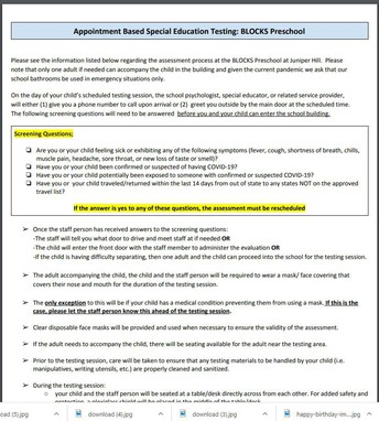 Appointment Based Special Education Testing- BLOCKS