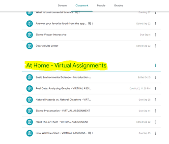 Please complete your virtual assignments at home