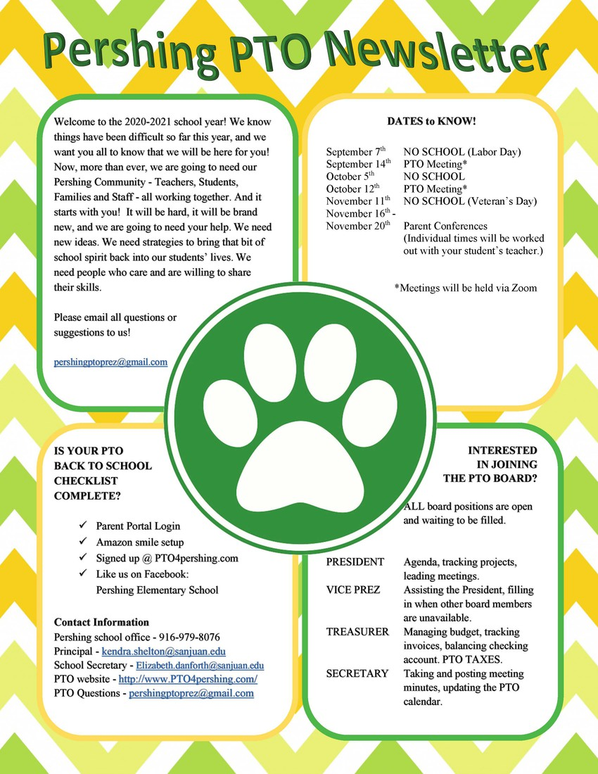 Pershing PTO Newsletter