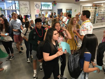 Aloha! Staffulty welcoming our students to the First Day Luau!