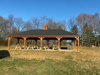 Outdoor classroom with new tables