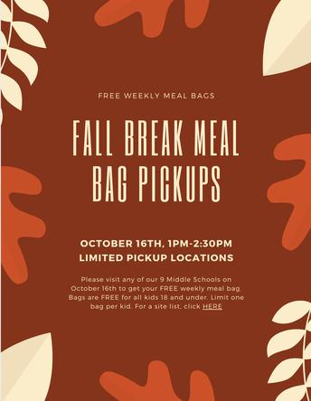 Fall Break Free Weekly Meal Bags