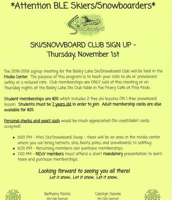 SKI CLUB AND SWAP NOVEMBER 1ST